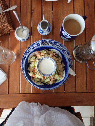 Epic Arts Cafe, cous cous chickpea salad and coffee