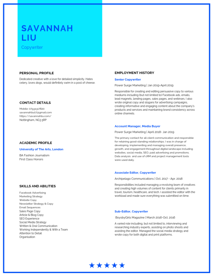 Resume and Cover Letter May 2019
